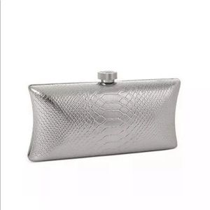 Vince Camuto metallic silver evening clutch